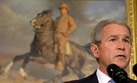 WASHINGTON - OCTOBER 22: U.S. President George W. Bush makes a statement on the Iraq War supplemental in the Roosevelt Room of the White House October 22, 2007 in Washington, DC.