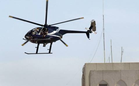 Blackwater helicopter over Baghdad, October 23, 2007.