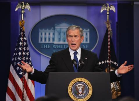 US President George W. Bush speaks during a press conference 04 December 2007 in the Brady Briefing Room of the White House in Washington, DC.