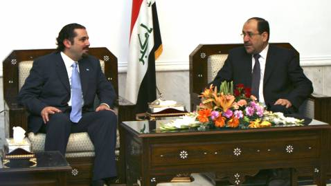 Lebanese MP Sa'ad Hariri meets with Iraqi Prime Minister Nuri al-Maliki at the Iraqi PM's offices on Thursday.
