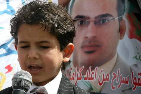 Montadar al-Zaidi's Nephew Reads Anti-Bush Poetry at a Protest Last Week, Led By Dargham al-Zaidi