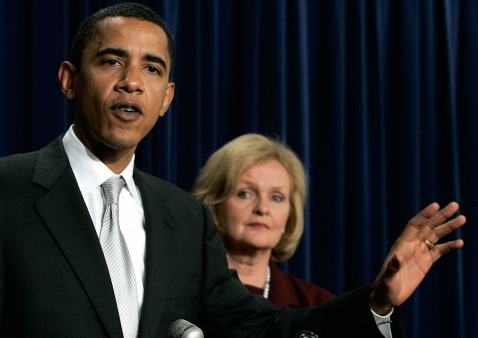 Senators Obama (D-IL) and McCaskill (D-MO) in a news conference on Capitol Hill, March 1, 2007
