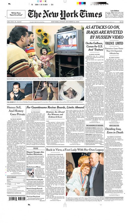 the new york times front page. The Sunday New York Times