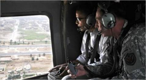 Sen. Barack Obama surveys Baghdad by helicopter with Gen. David Petraeus in July 2008.