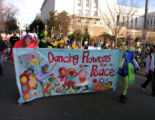 The Dancing Flowers march in protest of the war in Iraq, January 2007.