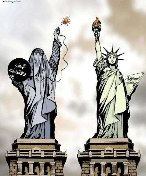 The cartoon that prompted Iraqi MPs to ban a magazine from its halls. The figure on the right resembling the Statue of Liberty holds a tablet reading Democracy and Freedoms. The figure on the left holds a tablet reading Terrorism and female suiciders.