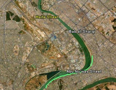Composite sattelite image of central Baghdad shows relative locations of Abu Nu'was Street, Haifa Street, and Bab al-Sharqi.