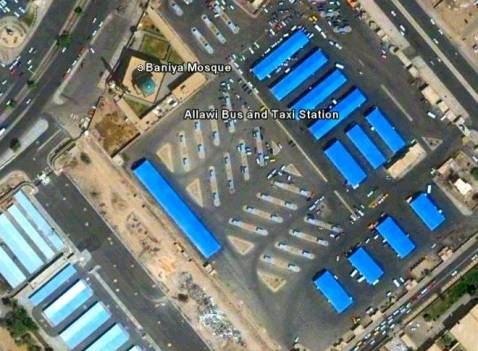 Satellite image of Allawi bus and taxi depot in central Baghdad.