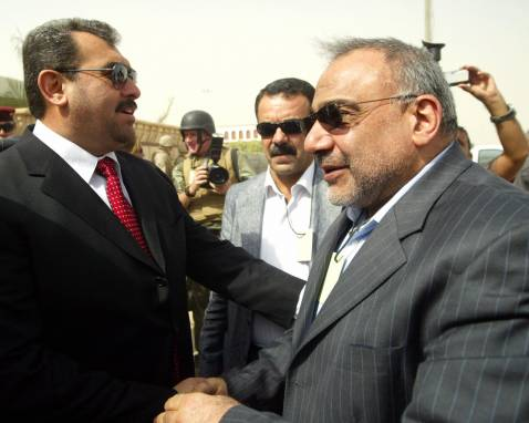 Governor Ma'moun Sami Rashid greets Iraqi Vice President Adel Abd al-Mahdi during the VP's visit to Anbar Province in September 2007.