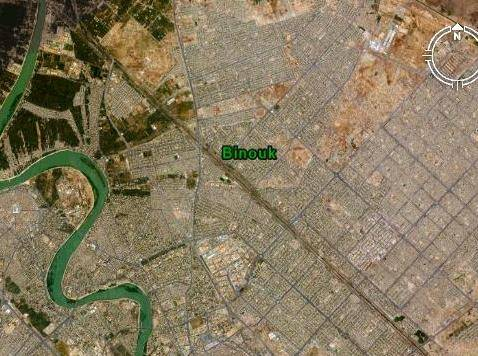 Composite satellite image shows location of Binouk district in northeastern Baghdad.