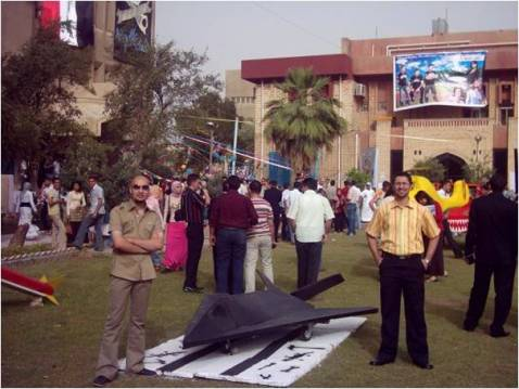 Iraqi graduates in costume for the 2008 Baghdad Technology University graduation.