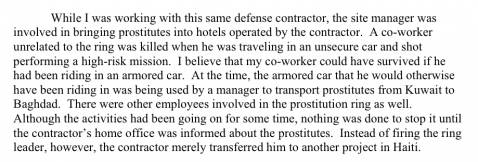 An excerpt of former contractor employee Barry Halley's testimony before a Democratic Senate panel.