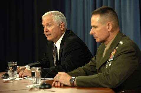 Defense Secretary Gates and Joint Chiefs Chairman Pace at a Pentagon news conference today.