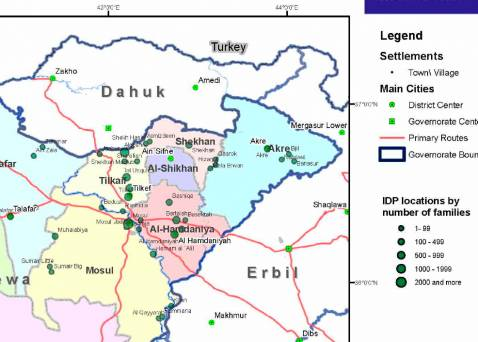 A cropped version of the International Migratory Organization's new Ninewa map showing the whereabouts of internally displaced people (IDPs).