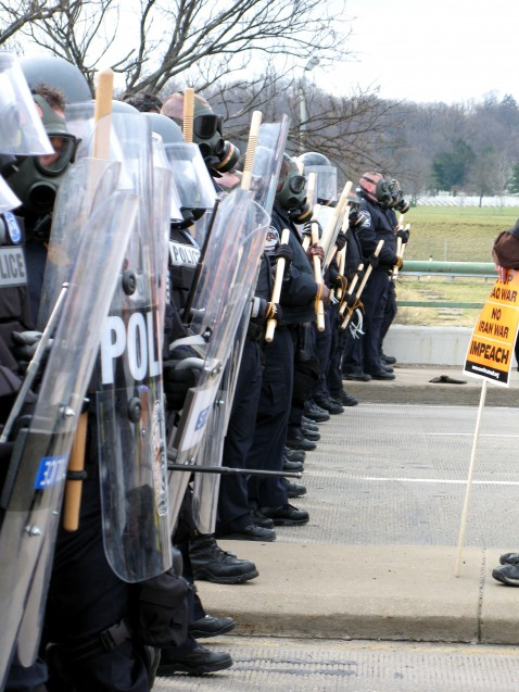Arlington County, Pentagon, and VA State police line up to block off a bridge near the Pentagon, March 17, 2007.