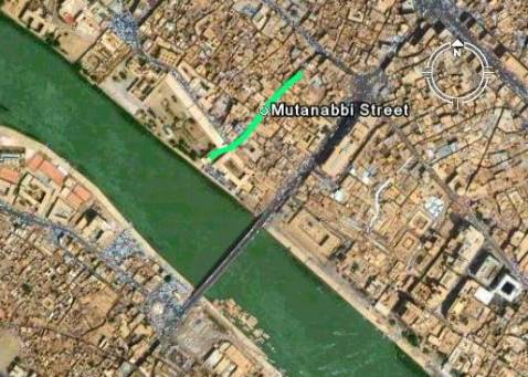 Composite satellite image shows central Baghdad near the Shuhada' Bridge, with location of Mutanabbi Street marked.