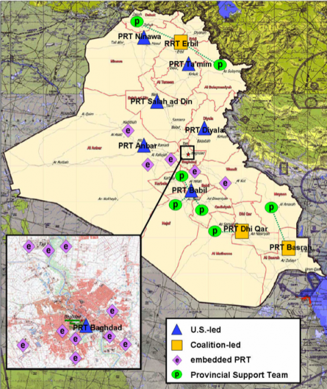 This map shows the location of all the PRT program affiliates in Iraq.