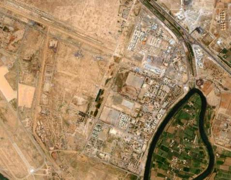 Composite Satellite image shows Baghdad's Rustumiya Military Academy between the Diyala river and the Army Canal.