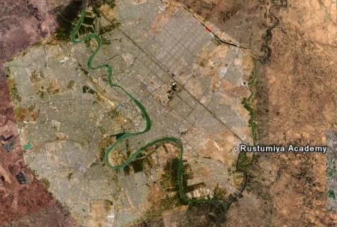 Image shows location of Rustumiya Military Academy in southeastern Baghdad