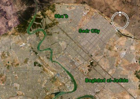 Composite satellite image shows relative location of Sha'b, Sadr City, and Baghdad al-Jadida in eastern Baghdad.
