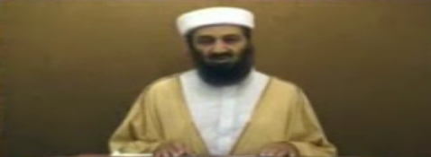 The blackbearded Osama bin Laden in videotaped statement made public today.