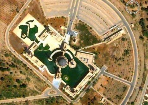 Satellite view of Umm al-Quraa mosque in western Baghdad.