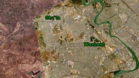 Composite Satellite image shows locations of Washash and Shu'la districts in Baghdad, west of the Tigris.