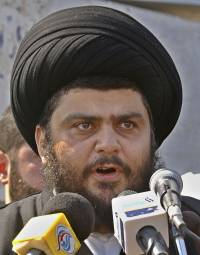 BASRA, IRAQ - FEBURARY 26: Firebrand Shiite cleric Moqtada al-Sadr speaks to his supporters on February 26, 2006 in the city of Basra, 340 miles south of Baghdad, Iraq.