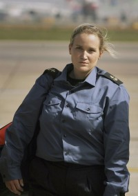 Leading Seaman Faye Turney, leaving the runway of London's Heathrow airport on Thursday.