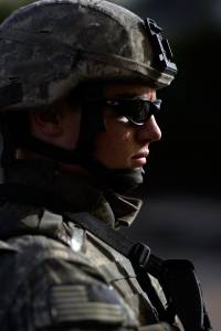 BAGHDAD, IRAQ - APRIL 28: U.S. Army Specialist Zachery King of the D-CO 2/325 AIR 82nd Airborne Division on patrol April 28, 2007 in Baghdad, Iraq.