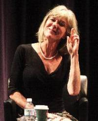 NPR Correspondent Anne Garrels speaking at Monday's Crain Lecture at Northwestern University.