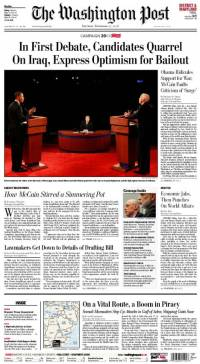 Front Page of The Washington Post, January 3rd, 2008