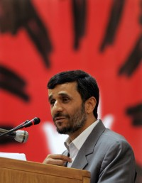 Tehran, IRAN: Iranian President Mahmoud Ahmadinejad delivers a speech at a conference entitled 'Islamic World - Victim of Terrorism' in Tehran 01 May 2007.