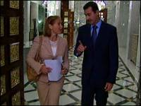 Katie Couric and Syrian President Bashar Assad today in Damascus.
