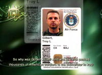 Screen grab of what appears to be ID card of US airman Maj. Troy Gilbert, from recently released Islamic State of Iraq video.